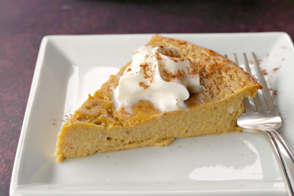 weight watchers crustless pumpkin pie on a white plate