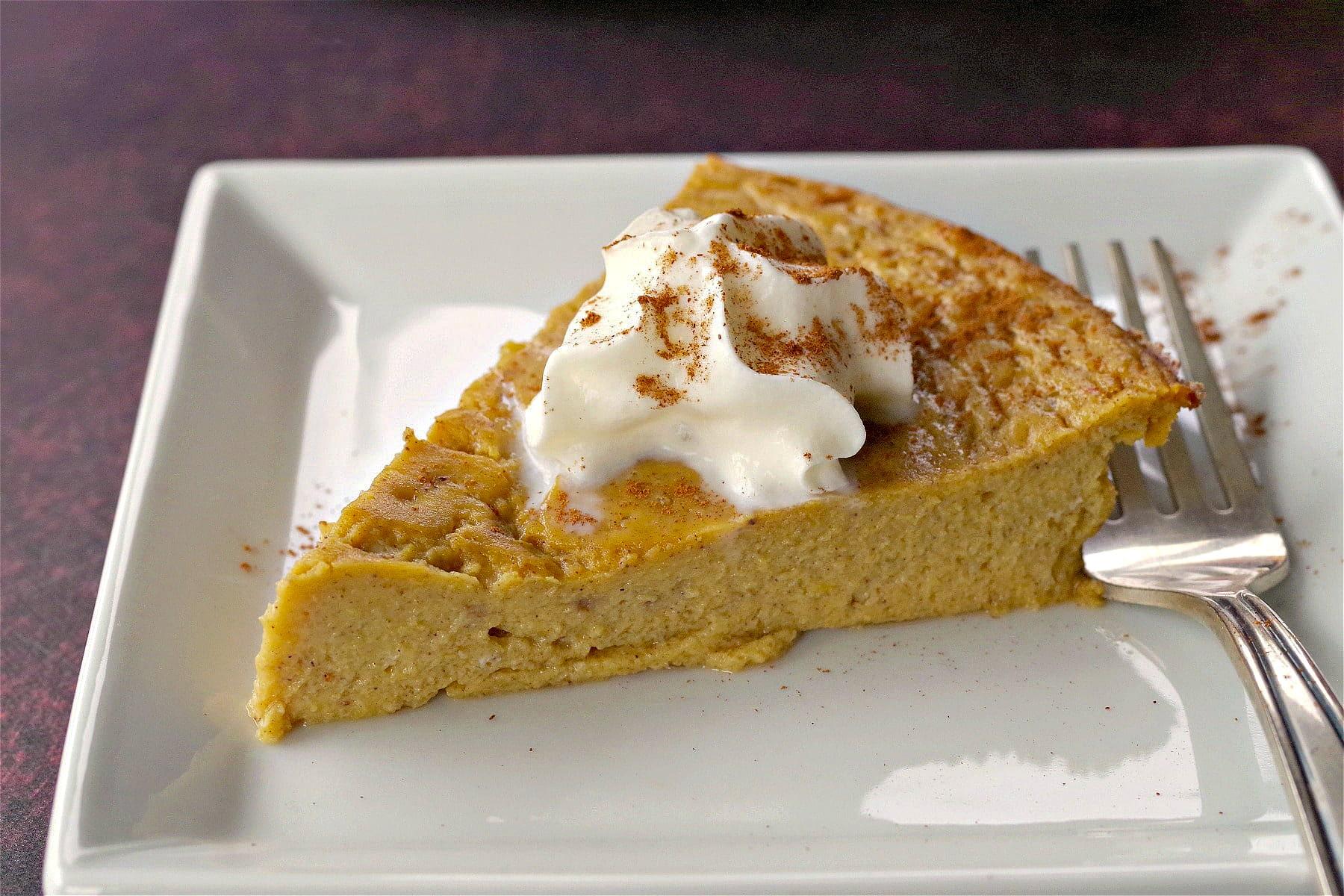 weight watchers crustless pumpkin pie on a white plate