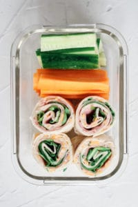 ham roll ups in glass lunch box