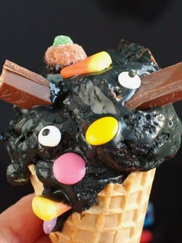 boo batter ice cream in a cone