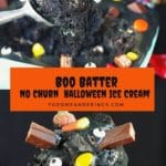 Pinterest Pin with text in the middle and 2 photos of Boo Batter Ice Cream