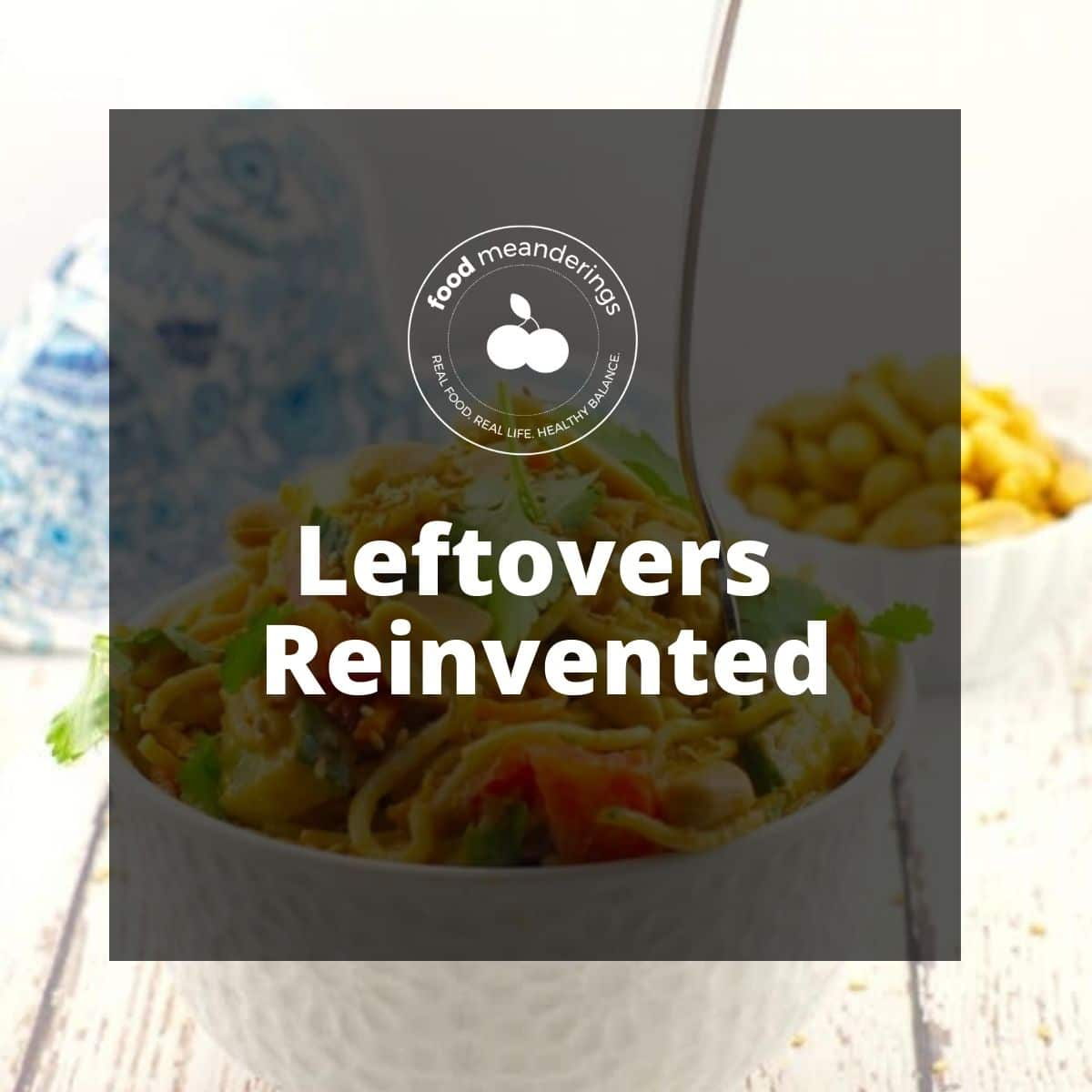 pinterest board cover with white text on black transparent background and photo of noodle salad in background