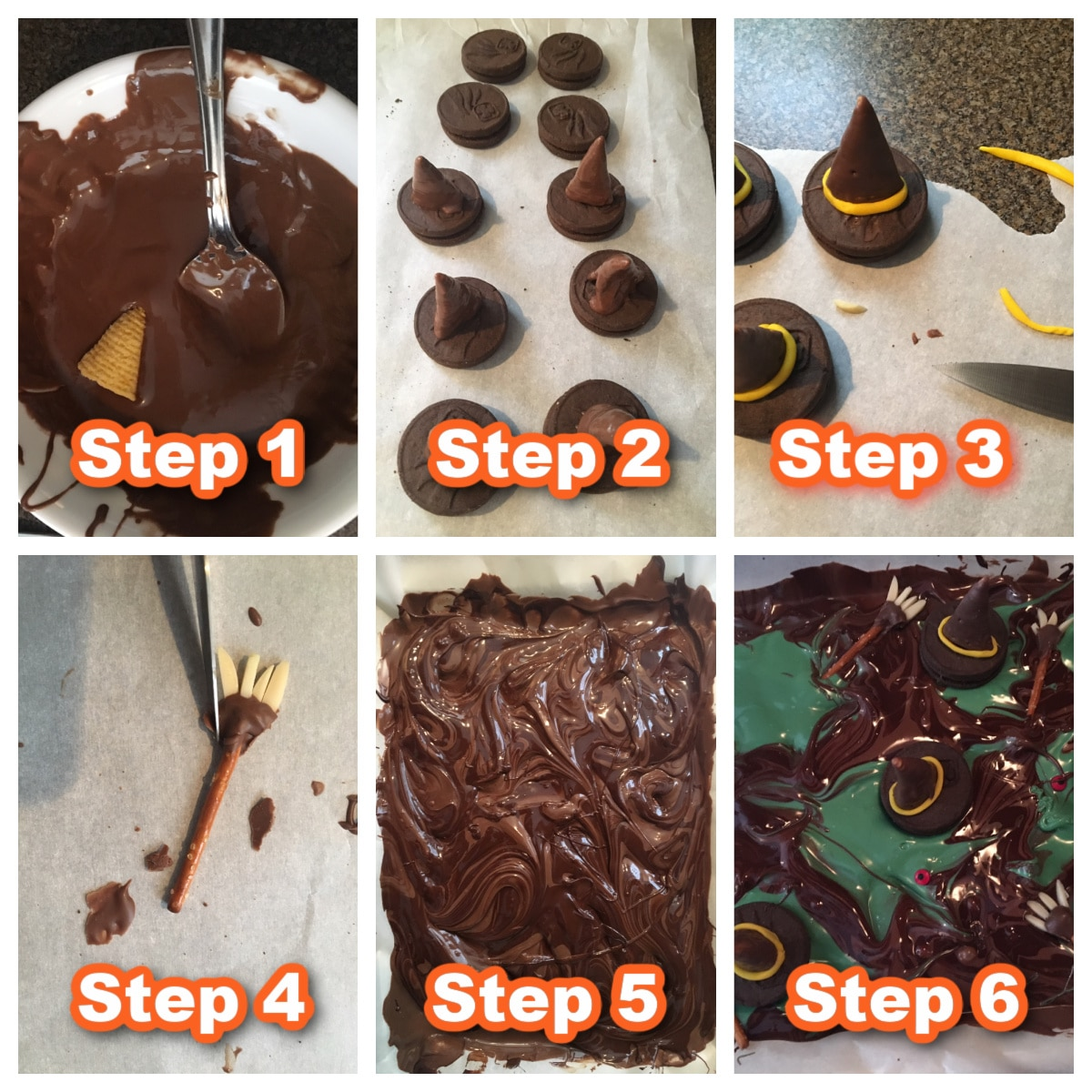 collage with 6 photos of steps to make melting witches chocolate bark