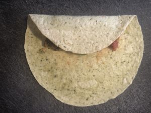 tortilla folded over filling from bottom