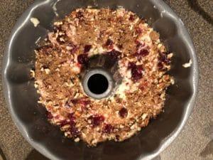 brown sugar/pecan mixture sprinkled over batter