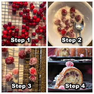 Collage of 4 photos showing how to make candied cranberries
