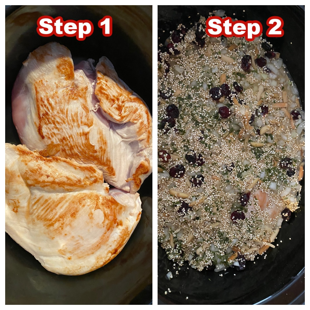collage of 2 photos of steps for how to make slow cooker turkey breast with quinoa dressing