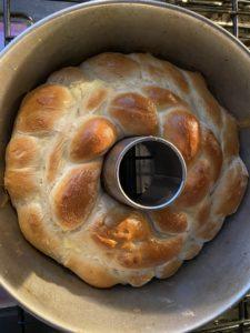 lightly browned kolach in angel food pan