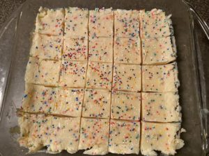 sugar cookie fudge cut into 25 pieces