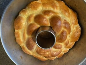cooked kolach cooling in pan