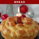 Pinterest Pin with white text on red background at top and bottom and photo of Bread Machine Kolach on black platter with Christmas ornaments in the background