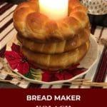 Bread Make Kolach Ukrainain bread stacked on a plate on a Ukrainiain Christmas eve table