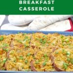 Pinterest pin with white text on green background on top and bottom and photo of Christmas morning overnight breakfast casserole in the middle
