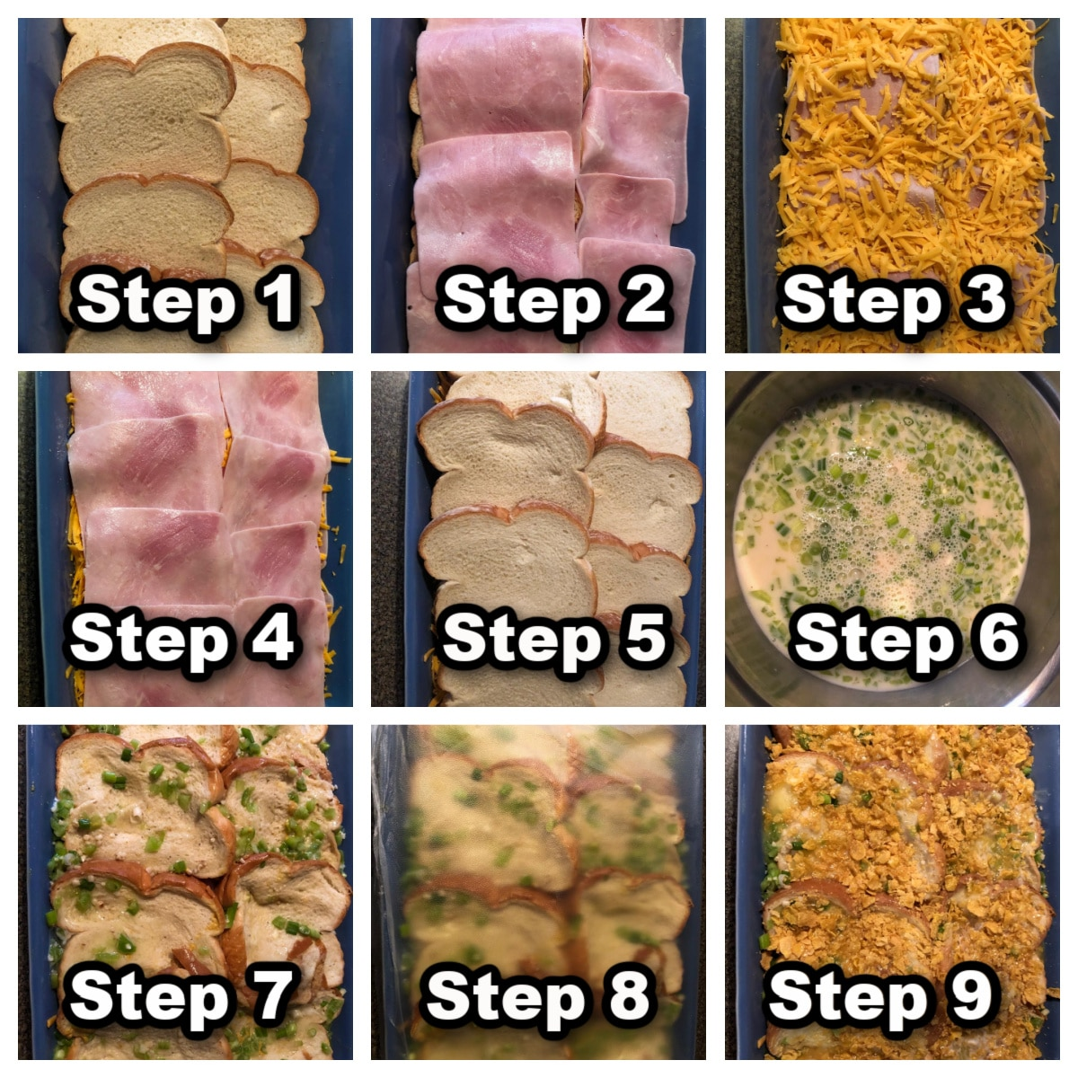 collage of 9 photos with instructions for making Christmas morning breakfast casserole