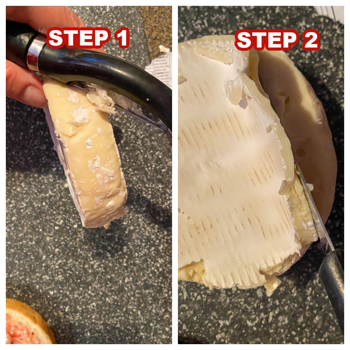 2 photo collage showing how to remove rind from Brie cheese