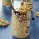 overnight oats with raisins with oatmeal cookies and more jars in the background