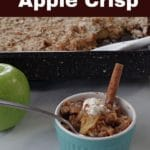 Pinterest pin with white text on dark brown background on top and bottom and photo ofweight watchers apple crisp in a small blue bowl with a cinnamon stick in it and 2 green apples and a spoon in the background