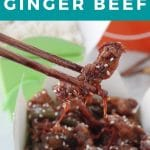 Pinterest Pin with white text on turquoise background with photo of Calgary ginger beef being held up by chopsticks