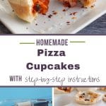 pinterest pin with text in the middle and 3 photos of pizza cups