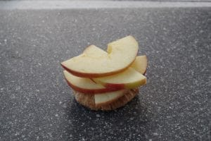 apple slices placed on pita, overlapping and slightly twisted