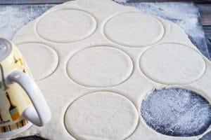 pizza dough cut in circles