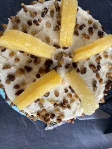 pineapple halves on top of cake
