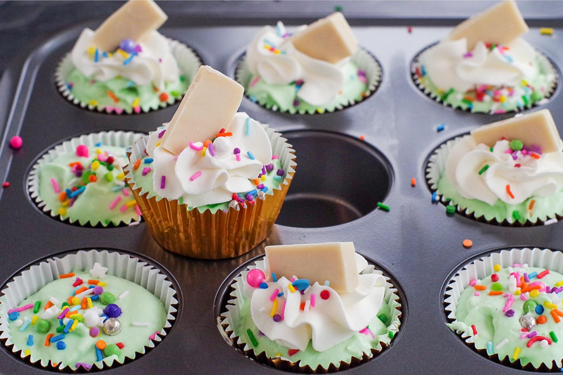 no churn ice cream cupcake sitting on muffin tin