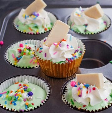 no churn ice cream cupcake sitting on muffin tin