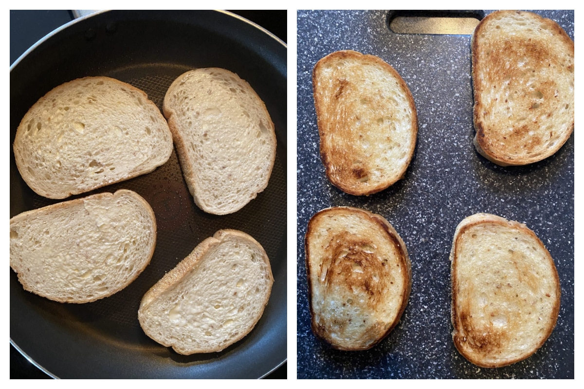 2 photos - 1 with bread added to frying pan and the other with browned bread on cutting board