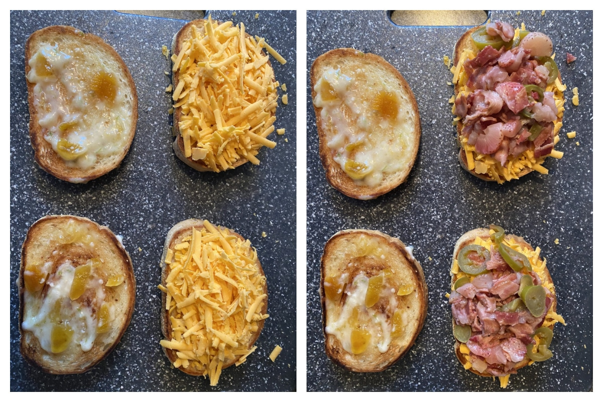 collage with 2 photos- 1st photo of bread with peach aioli on one side and cheese on the other, 2nd photo has strawberry moscato sautee on one side