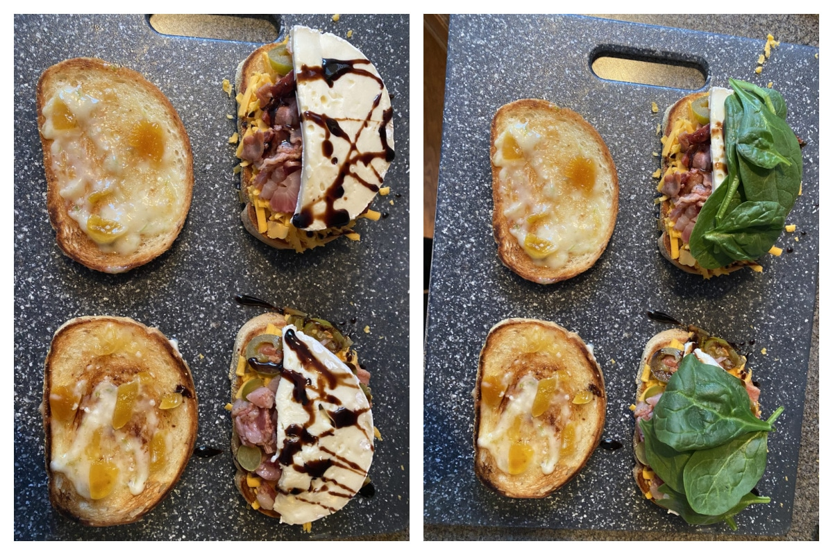 collage with 2 photos - 1 photos has sandwich with spinach and balsamic added, then the next has spinach addeed
