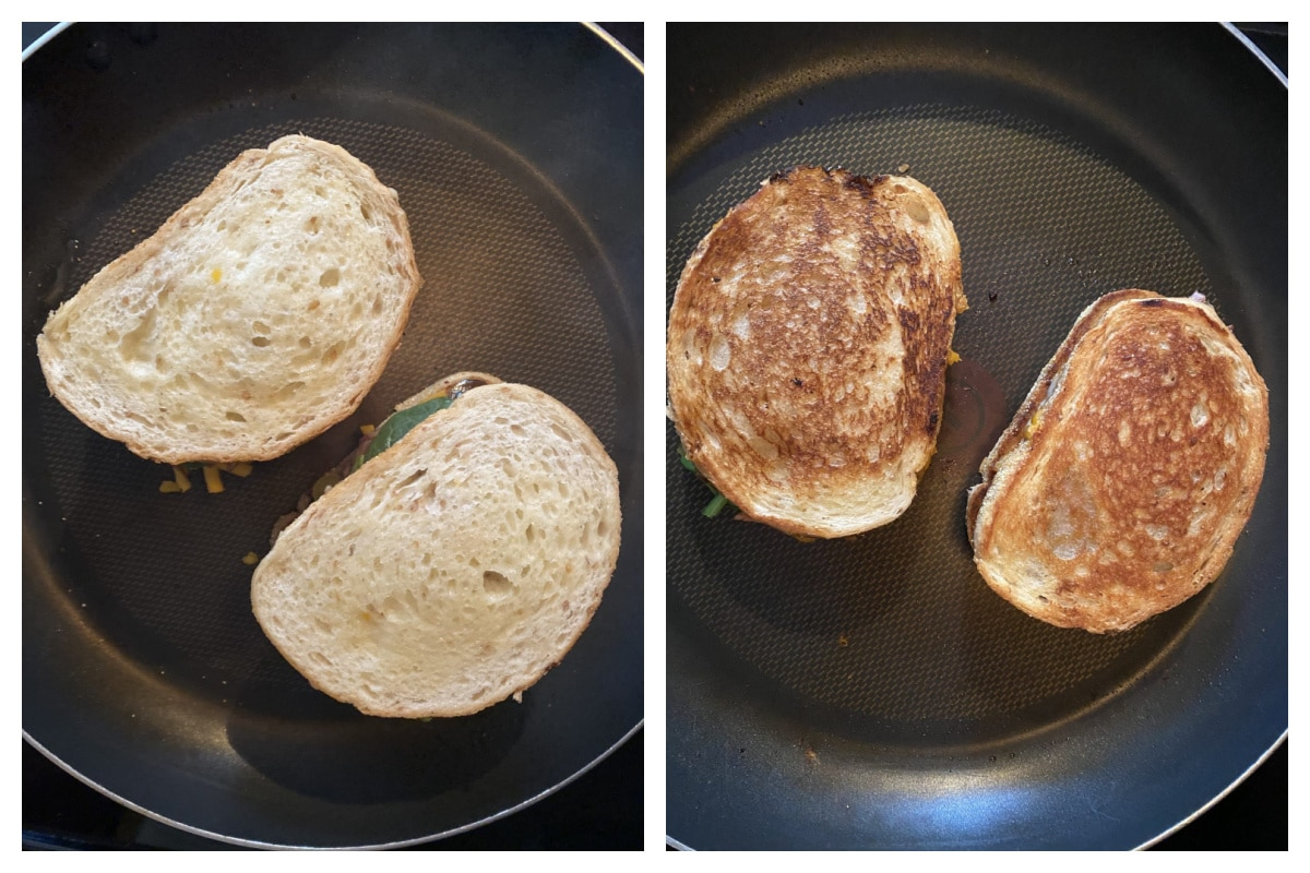 collage with 2 photos - 1 photo is one side of grilled cheese being cooked and the 2nd photo is both sides of the grilled cheese cooked in the frying pan