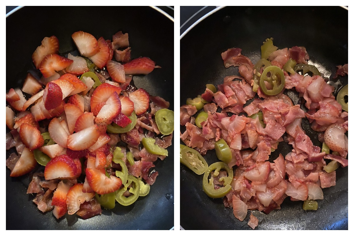 collage of 2 photos with strawberries, jalapenos, bacon and moscato in frying pan (1 raw, 1 cooked)