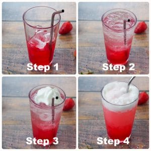 a collage of 4 photos showing how to make Italian soda