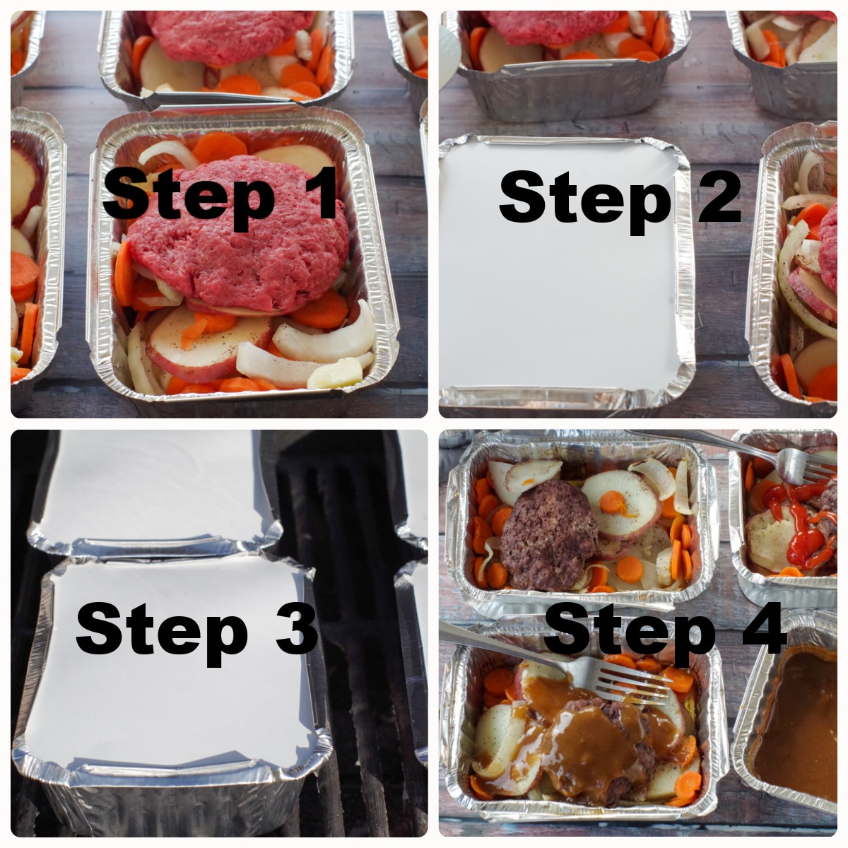 collage of 4 photos of how to make a hamburger