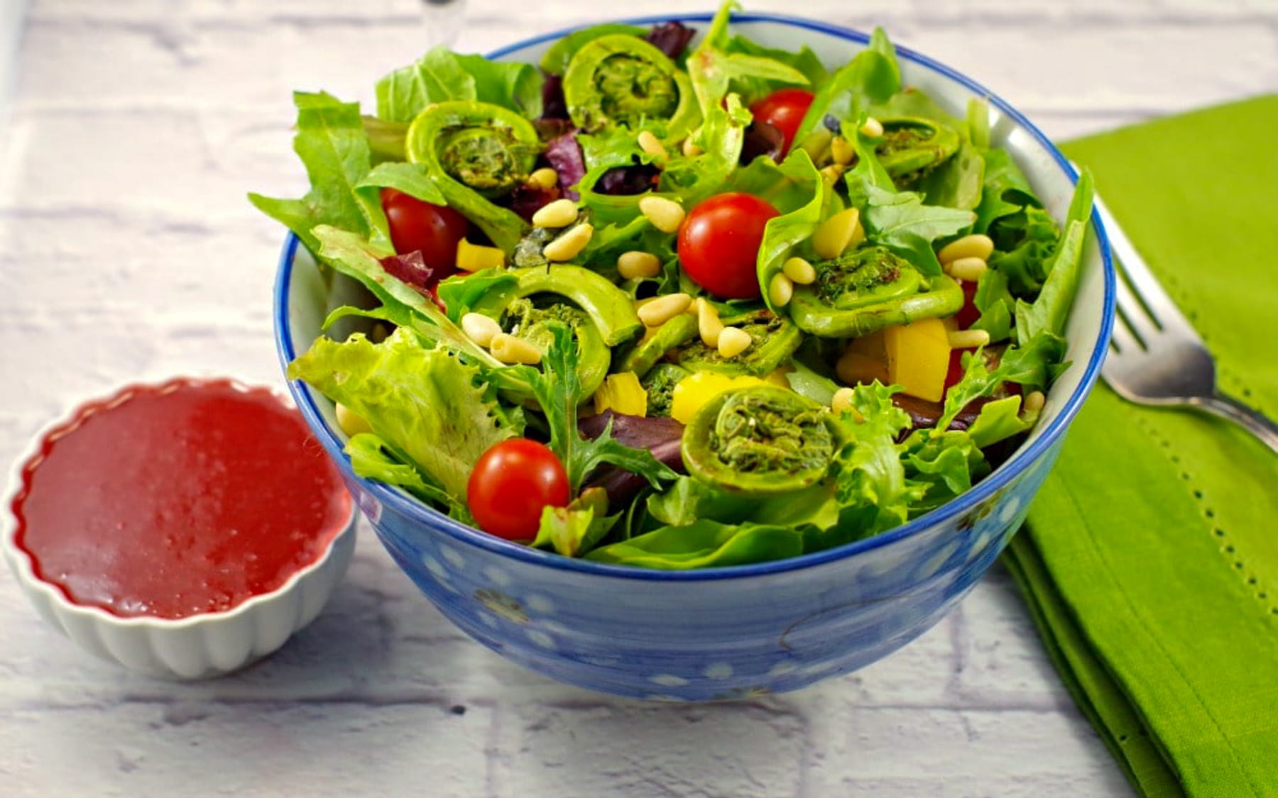 Spring Salad with Blackberry Vinaigrette and Fiddleheads #fiddleheads   foodmeanderings.com