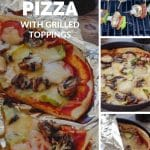 Pinterest pin with 4 photos of camping pizza