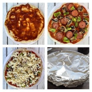 4 photos showing how to make a cast iron pizza oven