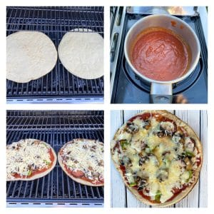4 photo collage showing how to make pizza on the grill