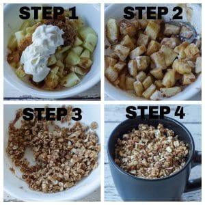 collage of 4 steps of making apple crisp in a mug