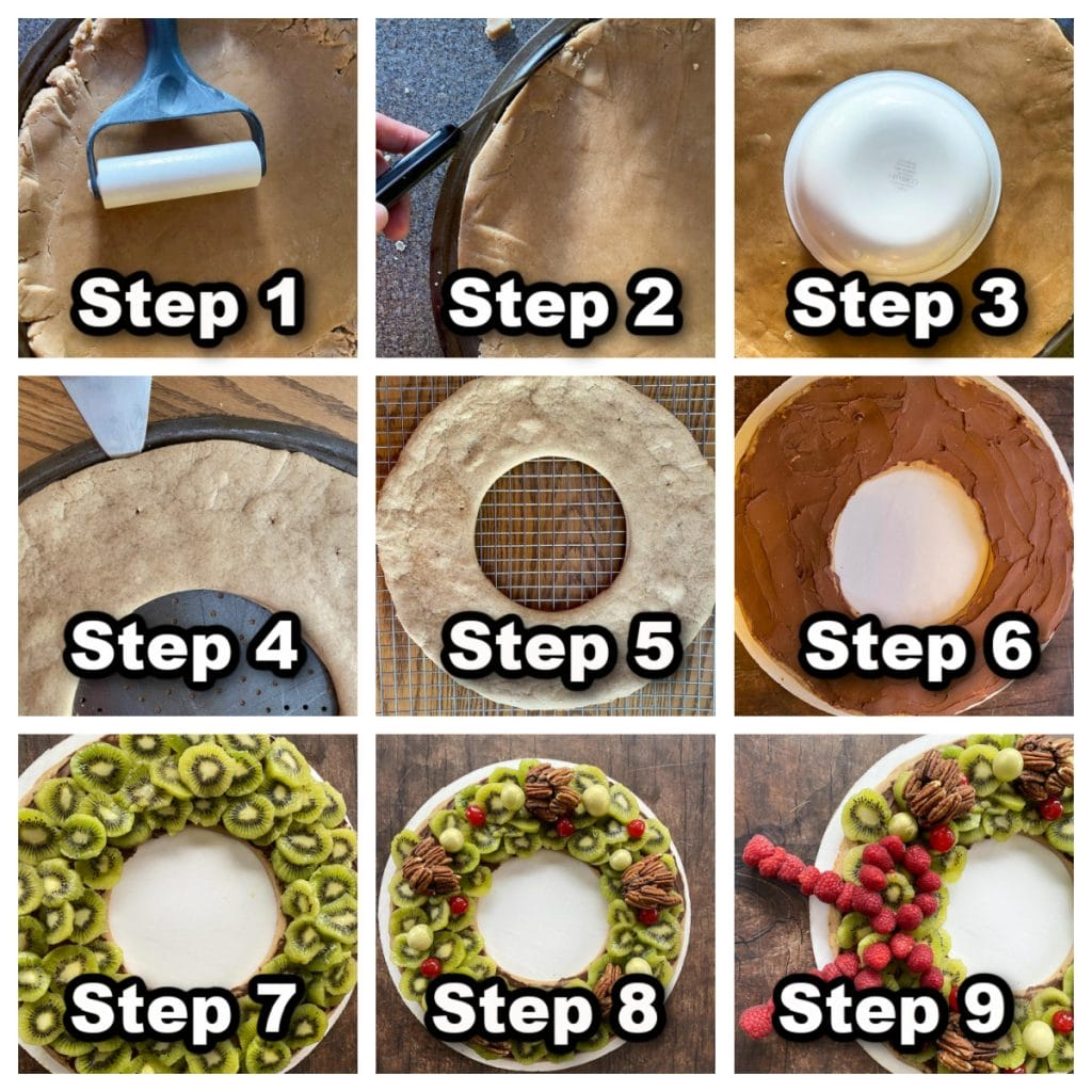 collage of 9 photos of steps showing how to bake and assemble a gingerbread fruit wreath