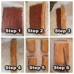 collage of 6 photos showing how to assemble gingerbread yule log cookies