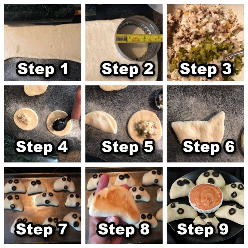 collage of 9 photos showing steps to make mini phantom pierogi pizza pockets