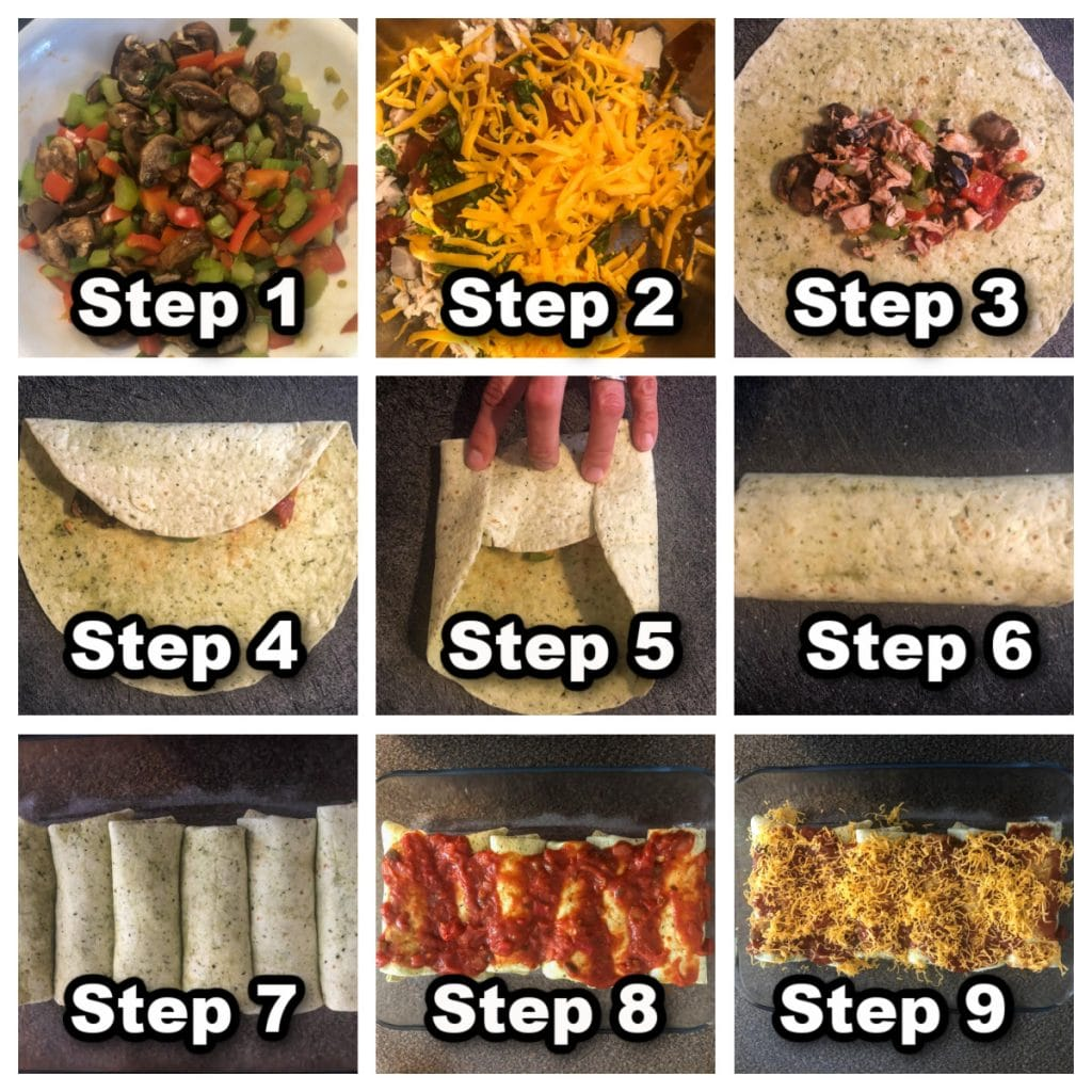 Collage of 9 photos showing steps for how to make leftover turkey enchiladas