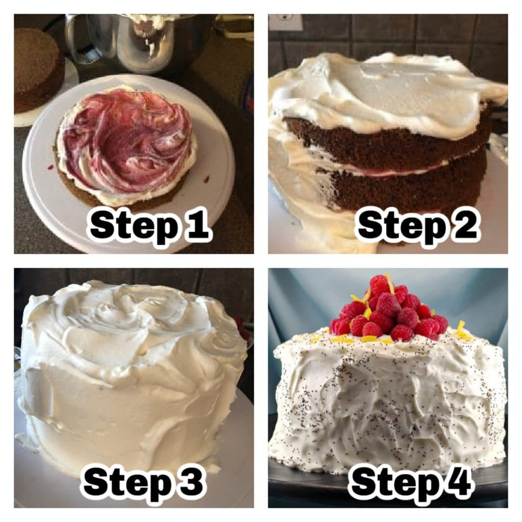 collage of 4 steps of how to assemble the lemon poppy seed cake