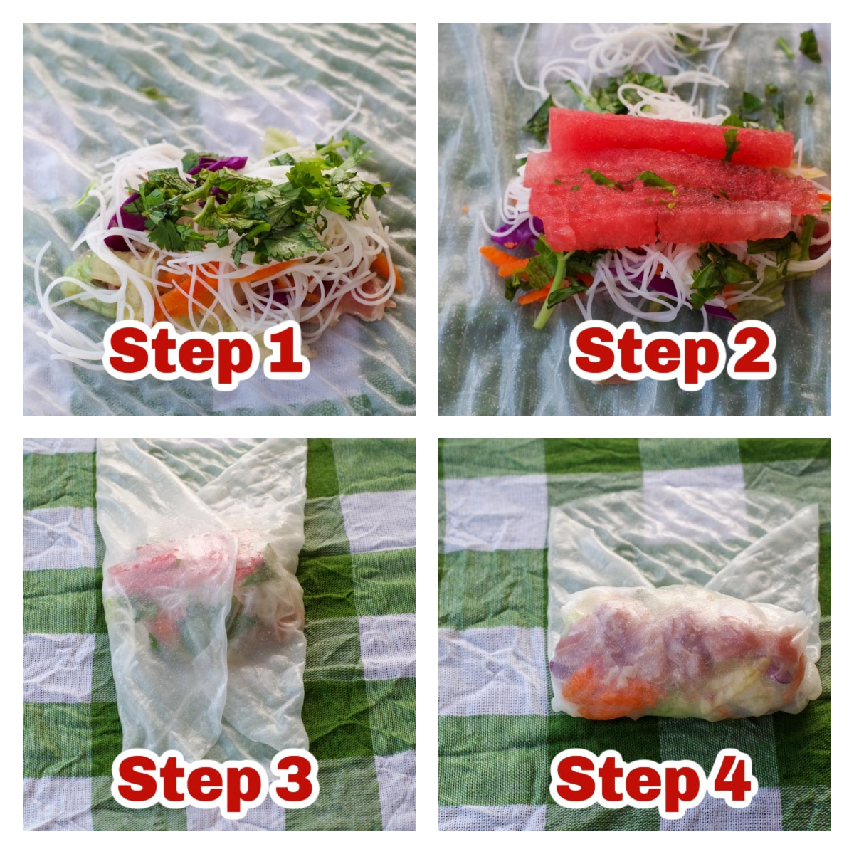 collage of 4 photos of how to make a salad roll