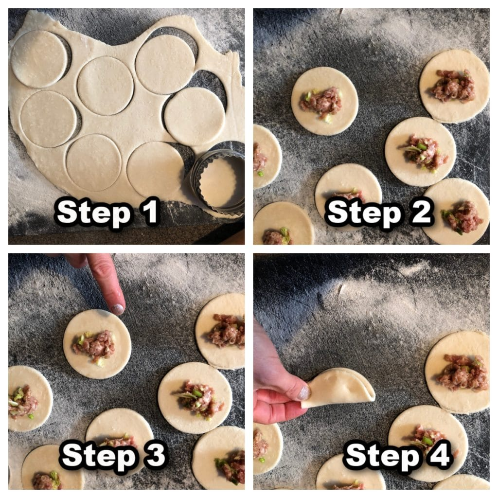 Collage of 4 photos showing how to assemble Wortip (Chinese Potstickers)