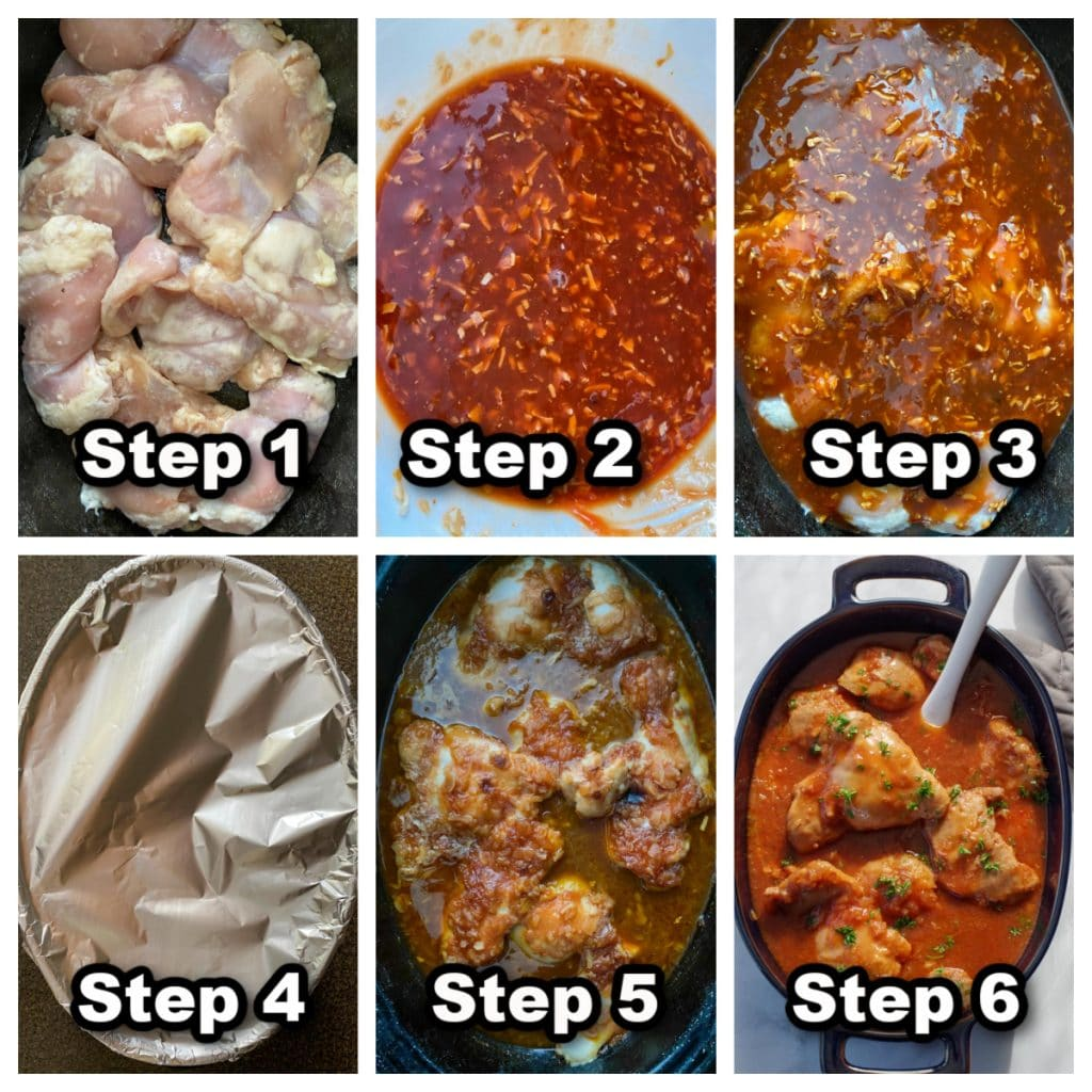 collage of 6 photos of steps to make Chicken in a Hurry