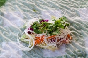 salad roll fillings on rice paper wrapper