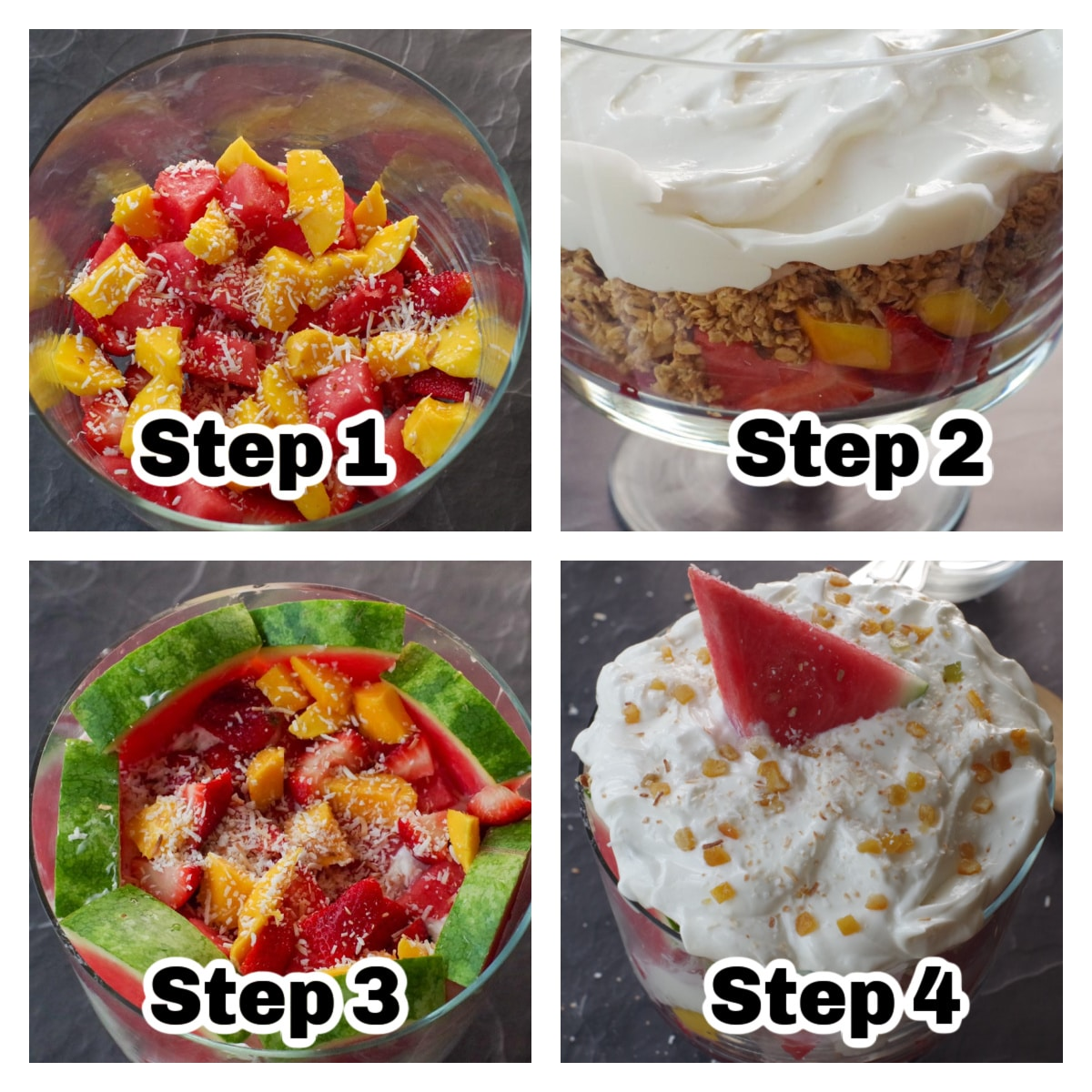 collage of 4 photos of instructions to make watermelon granola trifle